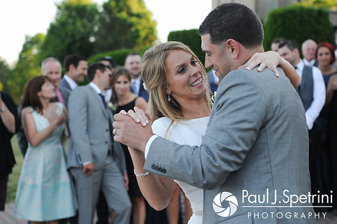 Amy and DJ share their first dance as man and wife during their June 2016 wedding reception at Aldrich Mansion in Warwick, Rhode Island.