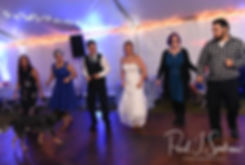 Josh & Kim dance with guests during their September 2018 wedding reception at their home in Coventry, Rhode Island.