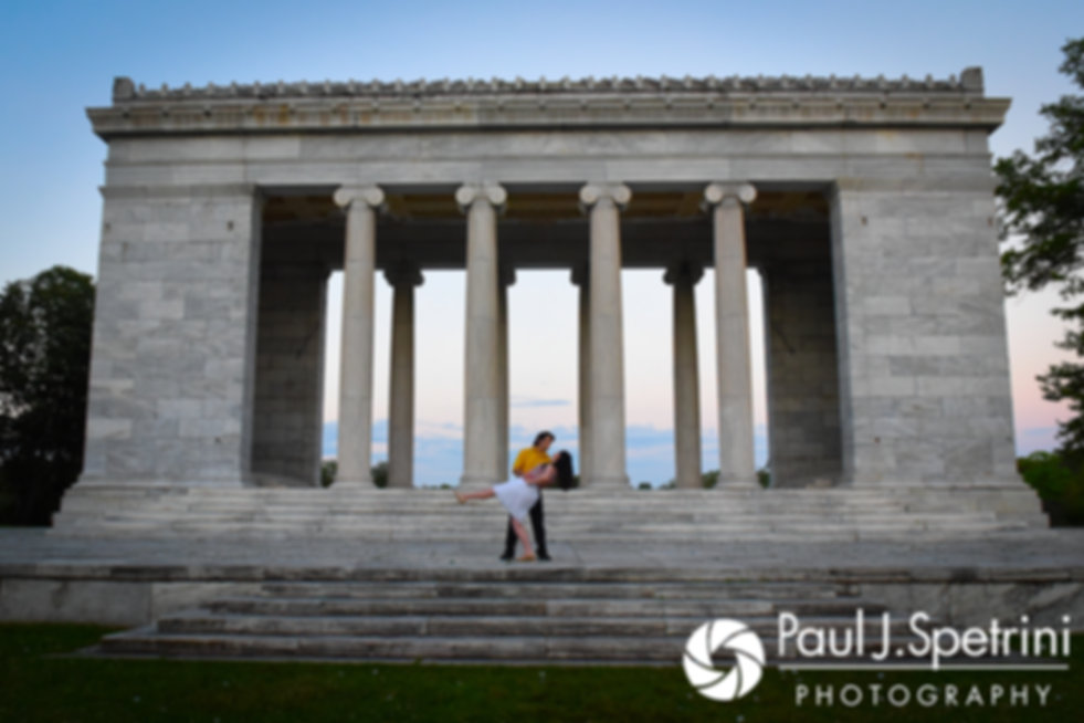 Allison and Len pose for a photo at the Roger Williams Park Temple of Music in Providence, Rhode Island during their June 2017 engagement photo session.