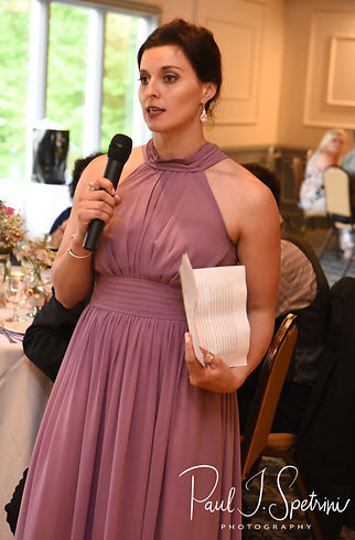 Kendra's maid of honor gives a speech during Kendra & Joe's May 2018 wedding reception at Crystal Lake Golf Club in Mapleville, Rhode Island.