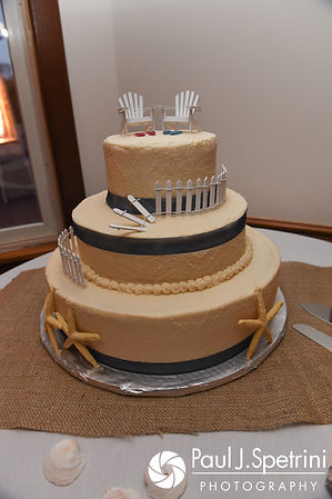 A look a the cake prior to Jennifer and Robert's September 2017 wedding reception at Oceanside at the Pier in Narragansett, Rhode Island.