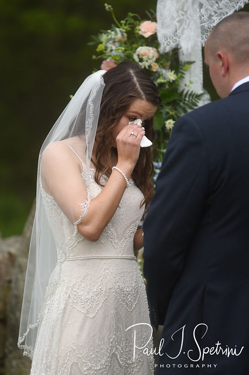 Ryan cries during her May 2018 wedding ceremony at Bittersweet Farm in Westport, Massachusetts.