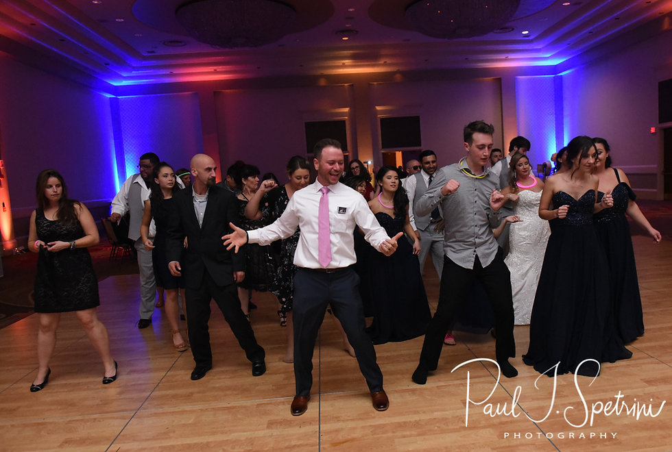 Guests dance during Sarah & Anthony's October 2018 wedding reception at The Omni Hotel in Providence, Rhode Island.