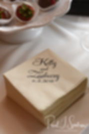 A look at the napkins on display during Zach & Kelly's June 2018 wedding reception at Blissful Meadows Golf Club in Uxbridge, Massachusetts.