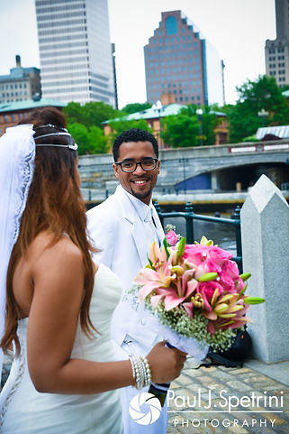 Lucelene and Luis pose for formal photos following their June 2017 wedding ceremony at Waterplace Park in Providence, Rhode Island.