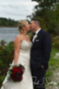 Meghan & Brian pose for a formal photo prior to their September 2018 wedding reception at Squantum Association in Riverside, Rhode Island.
