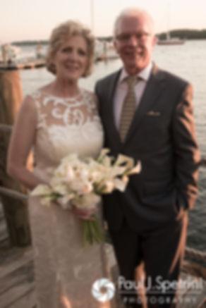 Bob and Debbie smile for formal photos during their June 2016 wedding reception at DeWolf Tavern in Bristol, Rhode Island.