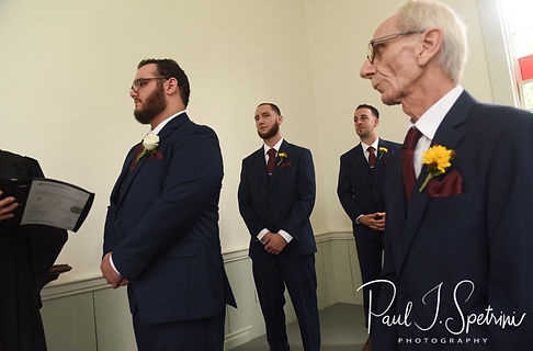 Rob stands with his groomsmen during his October 2018 wedding ceremony at South Ferry Church in Narragansett, Rhode Island.