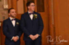 Mack watches the procession during his December 2018 wedding ceremony at St. Teresa's Church in Attleboro, Massachusetts.