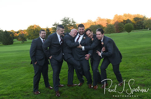 Steve poses for a photo with his groomsmen following his October 2018 wedding ceremony at The Villa at Ridder Country Club in East Bridgewater, Massachusetts.