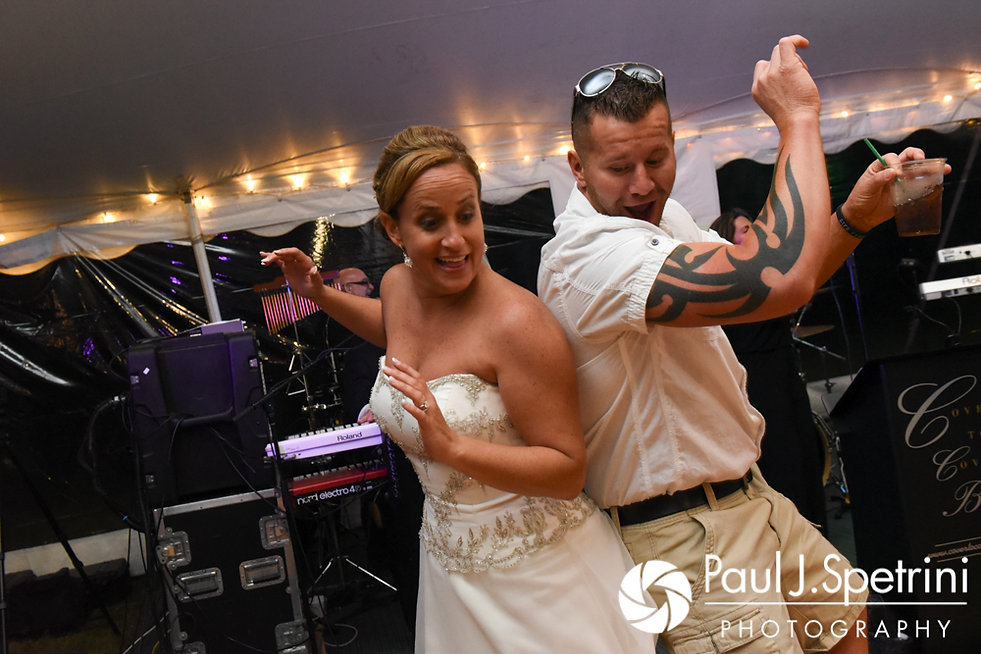 Rebecca dances with a guest during her August 2017 wedding reception in Warwick, Rhode Island.