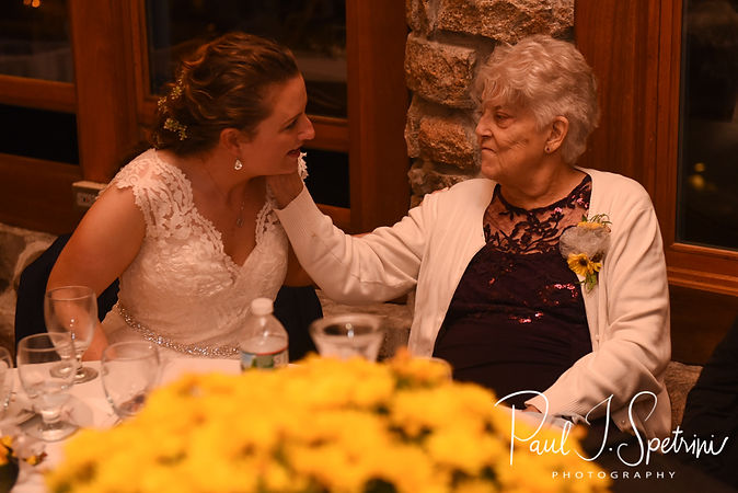 Allie spends a moment with her grandmother during her October 2018 wedding reception at The Towers in Narragansett, Rhode Island.
