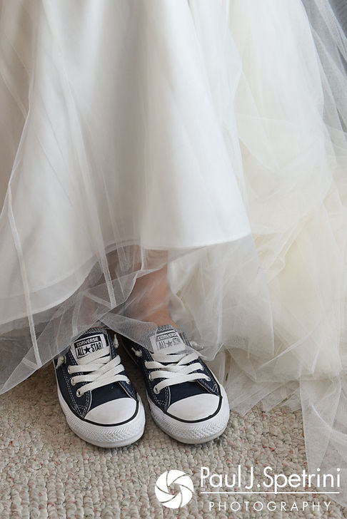 A look at Stacey's sneakers prior to her September 2017 wedding ceremony at Colt State Park in Bristol, Rhode Island.