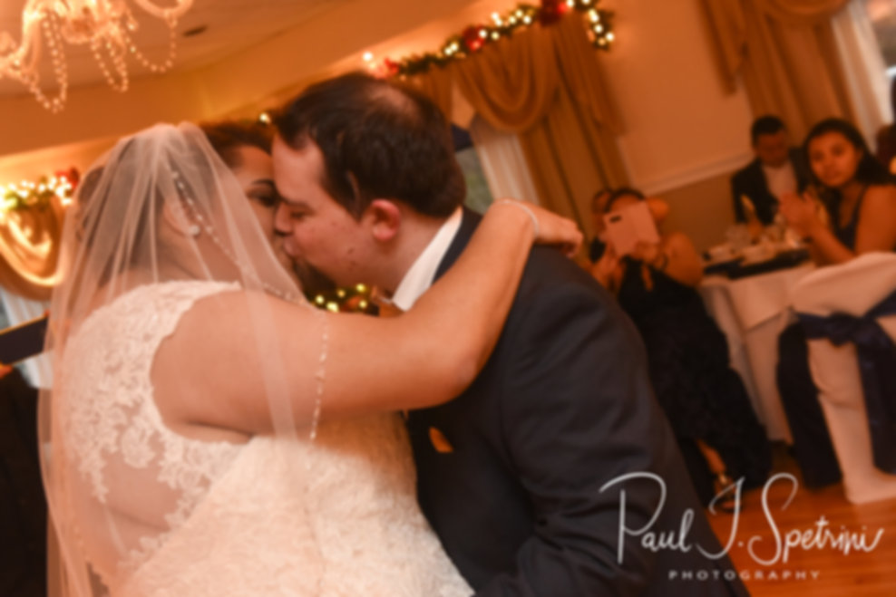 Gunnar & Aileen dance during their December 2018 wedding reception at McGoverns on the Water in Fall River, Massachusetts.