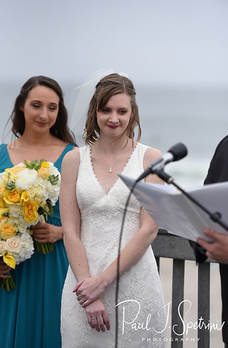 Amber smiles during her June 2018 wedding ceremony at North Beach Clubhouse in Narragansett, Rhode Island.
