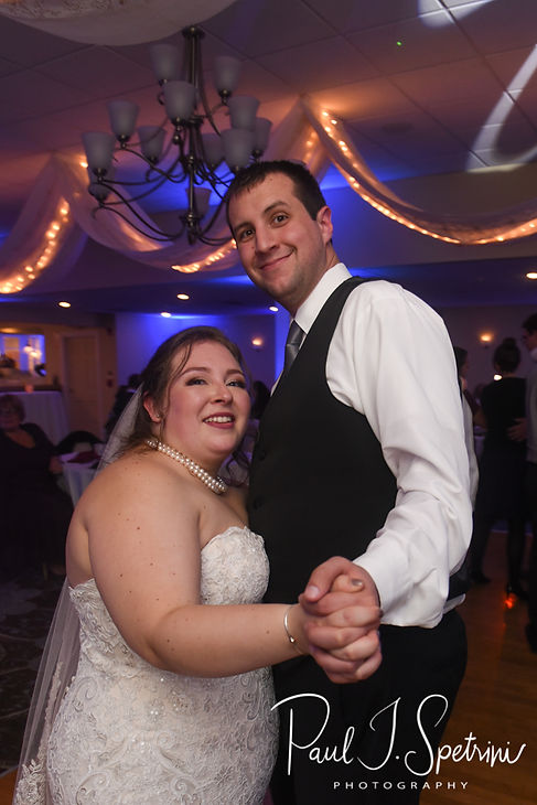 Chris and Stephanni dance during their October 2018 wedding reception at Rachel's Lakeside in Dartmouth, Massachusetts.