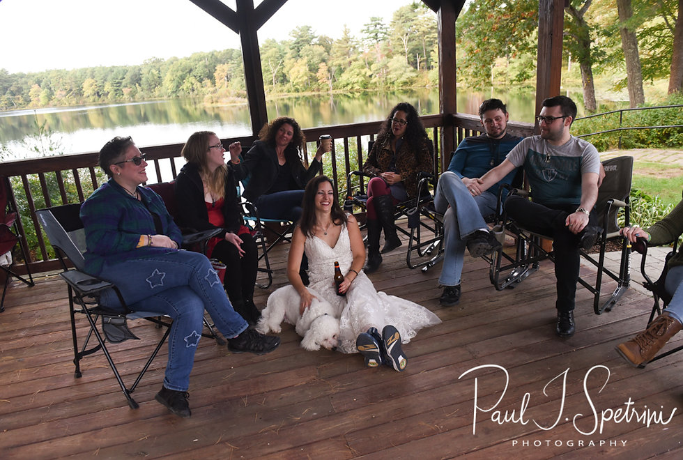 Amanda and her Zumba friends relax during her October 2018 wedding reception at Loon Pond Lodge in Lakeville, Massachusetts.