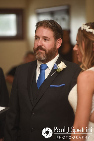 Kevin listens during his October 2017 wedding ceremony at Cranston Country Club in Cranston, Rhode Island.