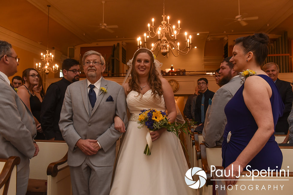 Kristin walks down the aisle during her October 2016 wedding ceremony at the Exeter Congregational Church in Exeter, New Hampshire.