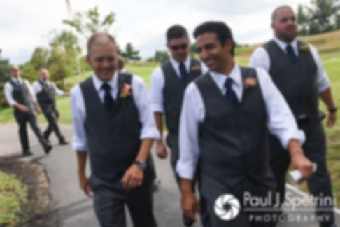 Scott walks with his groomsmen prior to his August 2017 wedding ceremony at Crystal Lake Golf Club in Mapleville, Rhode Island.