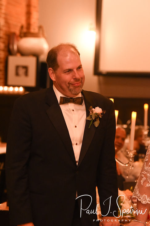 Bob smiles as his best man gives a speech during his August 2018 wedding reception at the Olde Colonial Cafe in Norwood, Massachusetts.