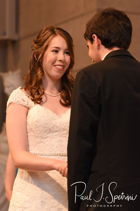 Sarah says her vows during her June 2018 wedding ceremony at the College of the Holy Cross in Worcester, Massachusetts.