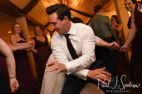 Guests dance during Katie & Steve's October 2018 wedding reception at The Villa at Ridder Country Club in East Bridgewater, Massachusetts.