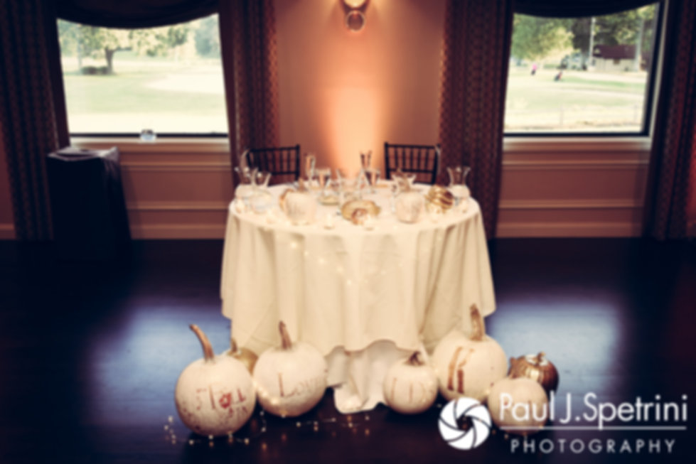 A look at the sweetheart table prior to Kristina and Kevin's October 2017 wedding reception at the Villa Ridder Country Club in East Bridgewater, Massachusetts.