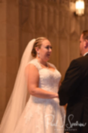 Courtney reads her vows during her September 2018 wedding ceremony at St. Paul Church in Cranston, Rhode Island.