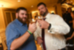 Steve drinks with a guest during his October 2018 wedding reception at The Villa at Ridder Country Club in East Bridgewater, Massachusetts.