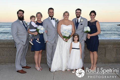 Jennifer and Robert pose for a formal photo with their wedding party following their September 2017 wedding ceremony at Gazebo Park in Narragansett, Rhode Island.