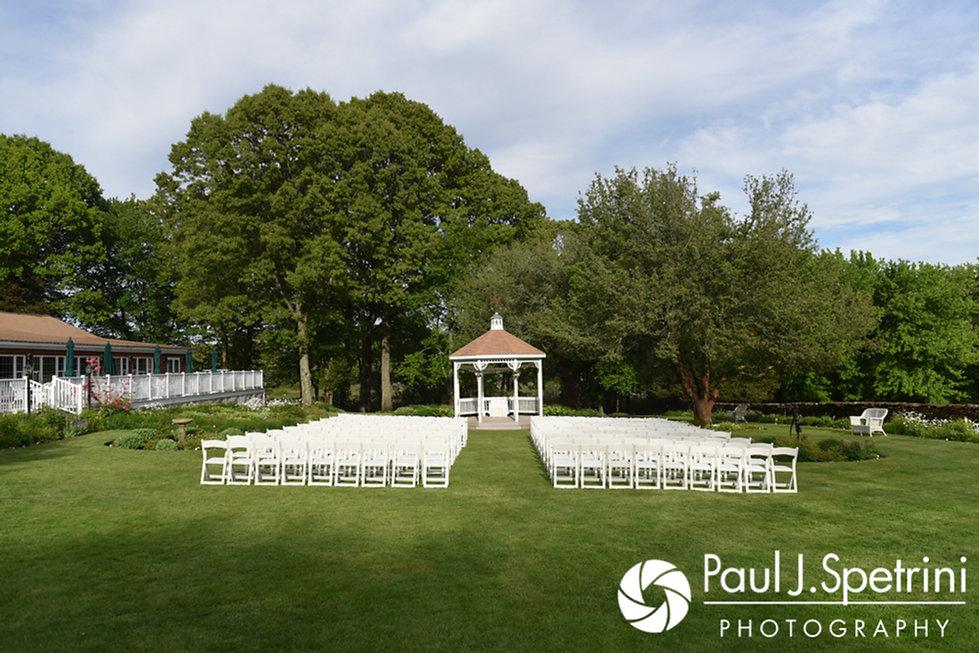 A look at the ceremony site prior to Melissa and Jordan's May 2017 wedding ceremony at Independence Harbor in Assonet, Massachusetts.