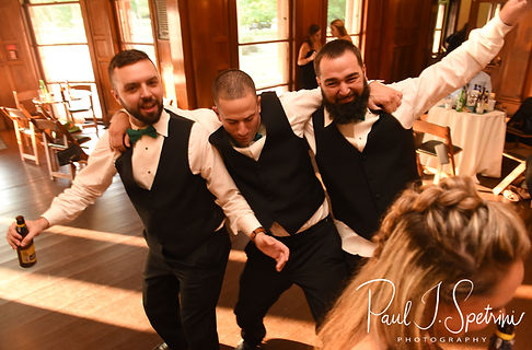 Guests dance during Danielle & Mark's August 2018 wedding reception at the Roger Williams Park Casino in Providence, Rhode Island.