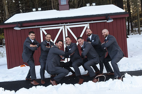 Kurt poses for a photo with his groomsmen prior to his November 2018 wedding ceremony at the Publick House Historic Inn in Sturbridge, Massachusetts.