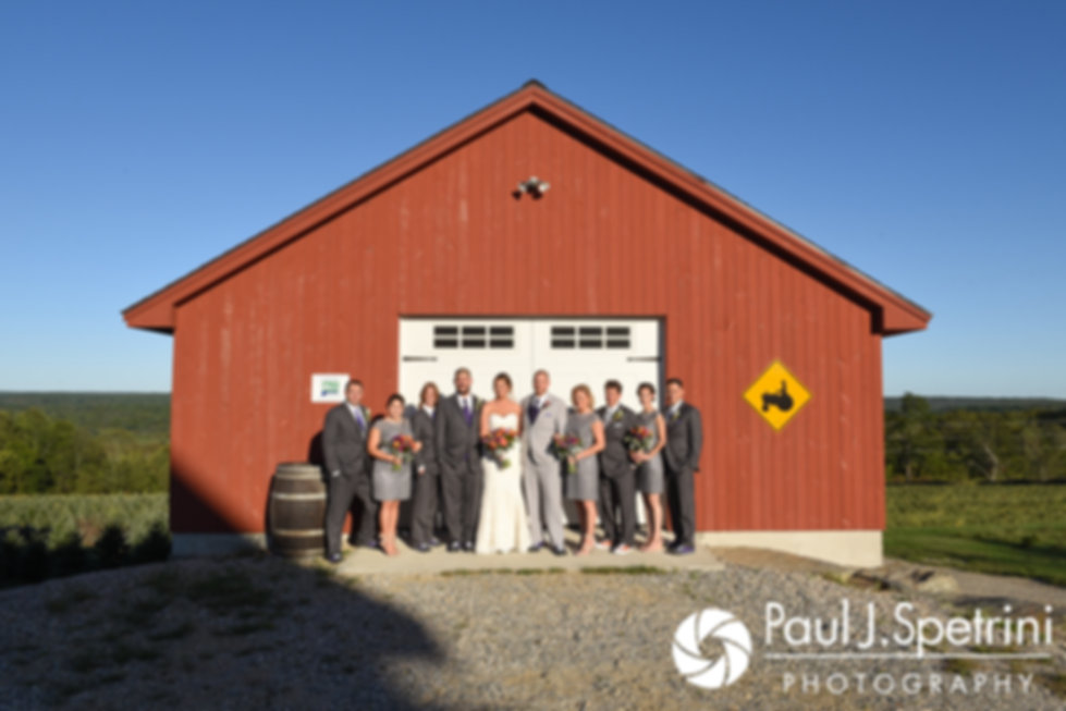 Kevin and Jen pose for a formal photo with their wedding party following their September 2017 wedding ceremony at Allen Hill Farm in Brooklyn, Connecticut.