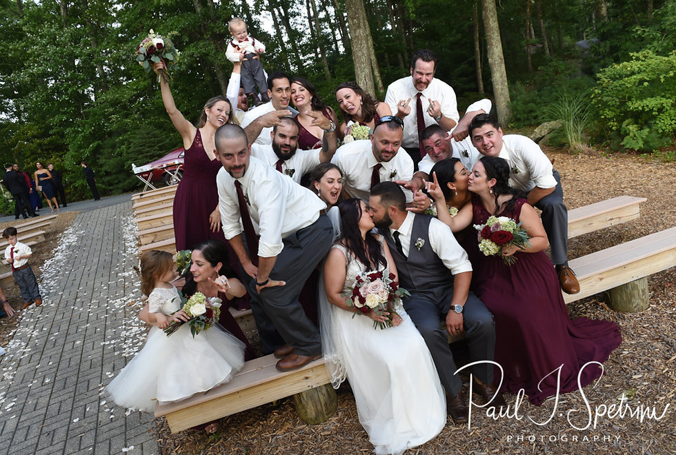 Lizzy & Gabe pose for a photo with their wedding party following their September 2018 wedding ceremony at Crystal Lake Golf Club in Mapleville, Rhode Island.