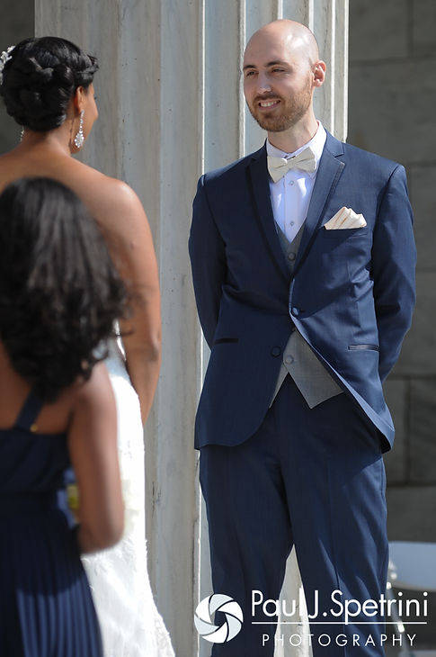 Mark looks at Jennifer during his September 2016 wedding at the Roger Williams Park Temple of Music in Providence, Rhode Island.
