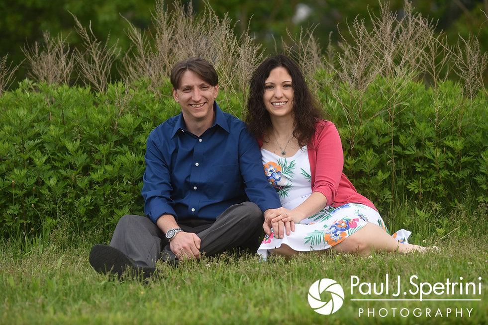 Amanda and Josh smile for a photo at Scalloptown Park in East Greenwich, Rhode Island during their May 2017 engagement photo session.