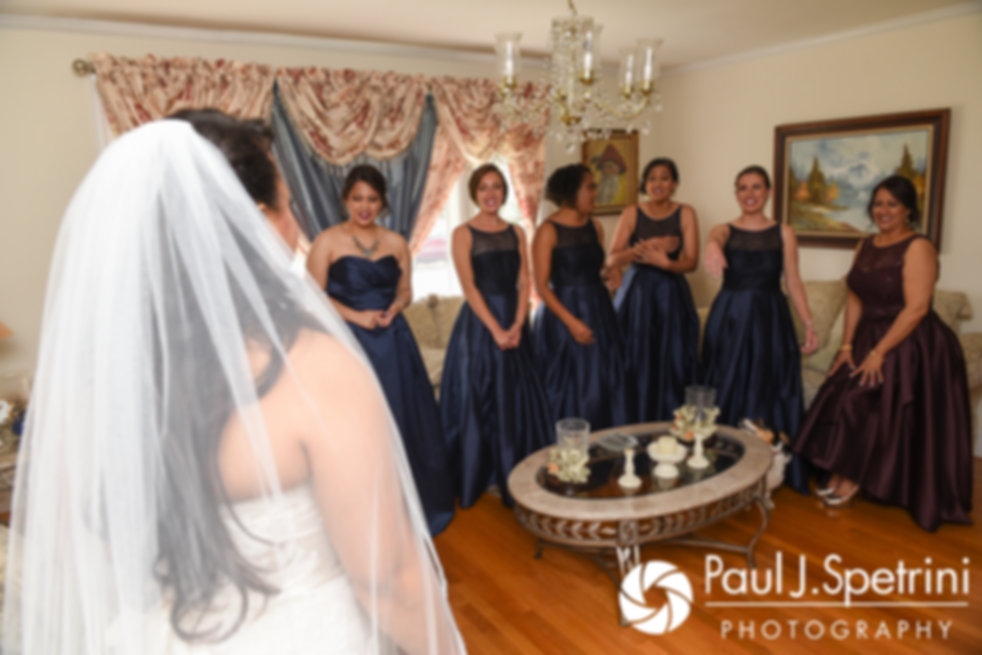 Stephany sees her bridesmaids for the first time prior to her September 2017 wedding ceremony at Wannamoisett Country Club in Rumford, Rhode Island.