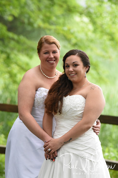 Laura & Marijke pose for a formal photo following their June 2018 wedding ceremony at Independence Harbor in Assonet, Massachusetts.