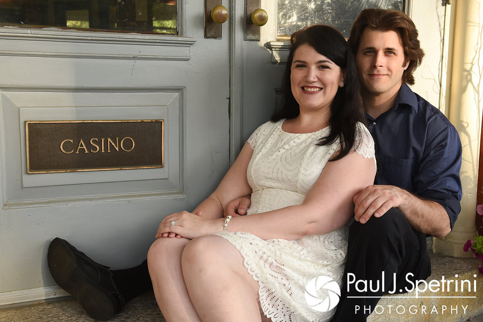 Allison and Len smile for a photo at the Roger Williams Park Casino in Providence, Rhode Island during their June 2017 engagement photo session.