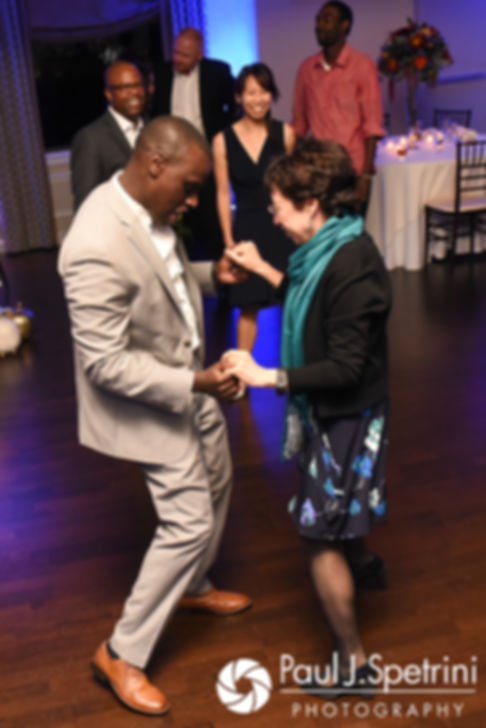 Kevin dances with guests during his October 2017 wedding reception at the Villa Ridder Country Club in East Bridgewater, Massachusetts.