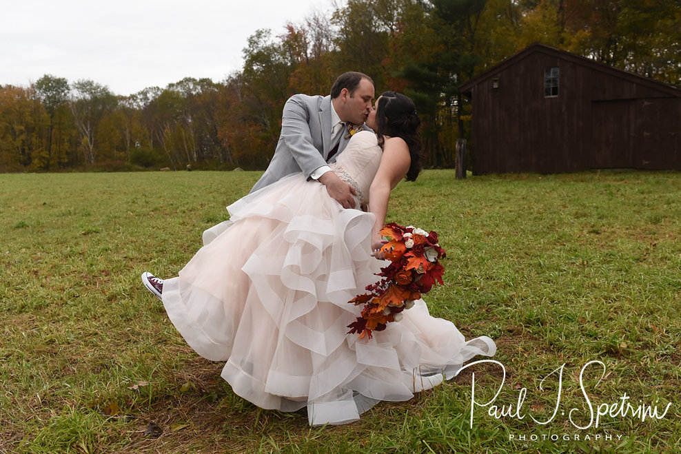 Rich & Makayla pose for a formal photo prior to their October 2018 wedding reception at Zukas Hilltop Barn in Spencer, Massachusetts.