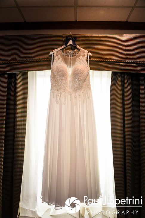 A look at Toni's wedding dress as it hangs prior to her August 2017 wedding ceremony at Crystal Lake Golf Club in Mapleville, Rhode Island.