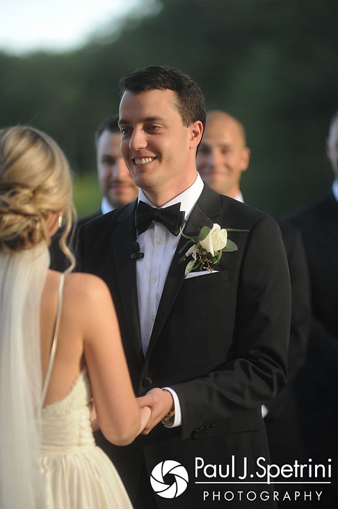 Laki smiles at Laura during his September 2017 wedding ceremony at Lake of Isles Golf Club in North Stonington, Connecticut.