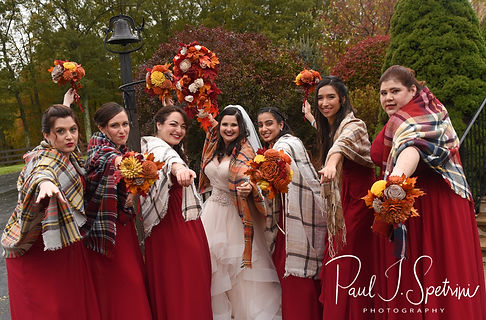 Makayla poses for a photo with her bridesmaids following her October 2018 wedding ceremony at Zukas Hilltop Barn in Spencer, Massachusetts.
