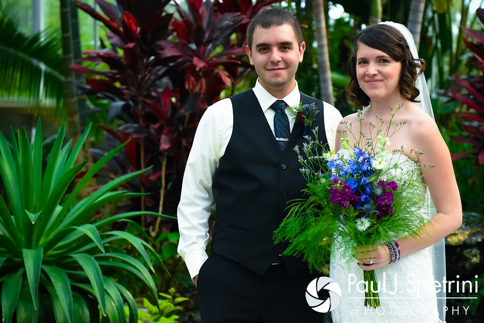 Jen and Kyle pose for a formal photo prior to their September 2016 wedding at the Roger Williams Park Botanical Center in Providence, Rhode Island.