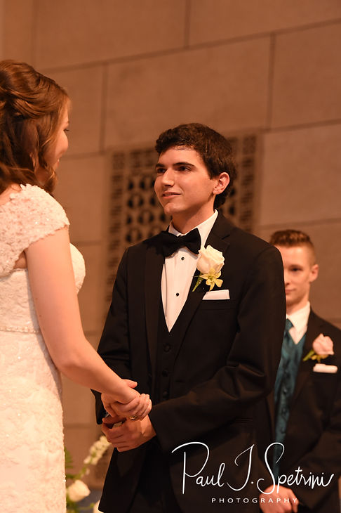 Brian say his vows during his June 2018 wedding ceremony at the College of the Holy Cross in Worcester, Massachusetts.