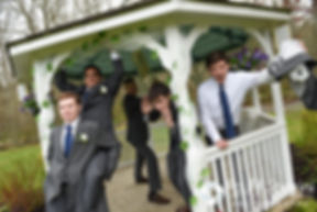 Jeremy and his groomsmen pose for formal photos following their May 2016 wedding at Bittersweet Farm in Westport, Massachusetts.