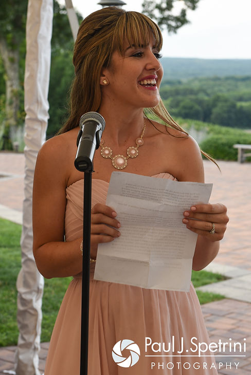 Lauryn's sister gives a speech during her July 2016 wedding reception at the Overlook at Geer Tree Farm in Griswold, Connecticut.